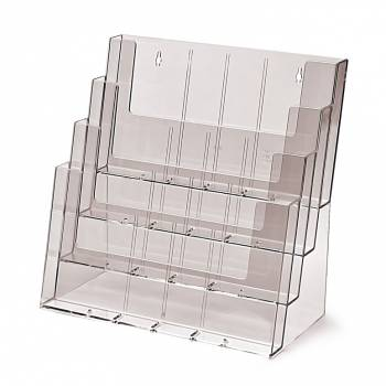 Portafolletos 4 espacios Múltiformato Mostrador/Pared (A4, 1/3 A4, A5)