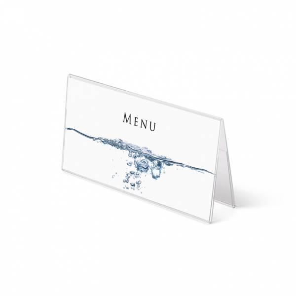 Soporte para folletos y menús horizontal, doble cara (1/3 de A4) forma A
