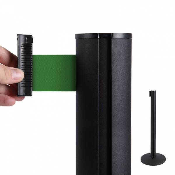 Poste separador negro con cinta extensible (cinta verde)