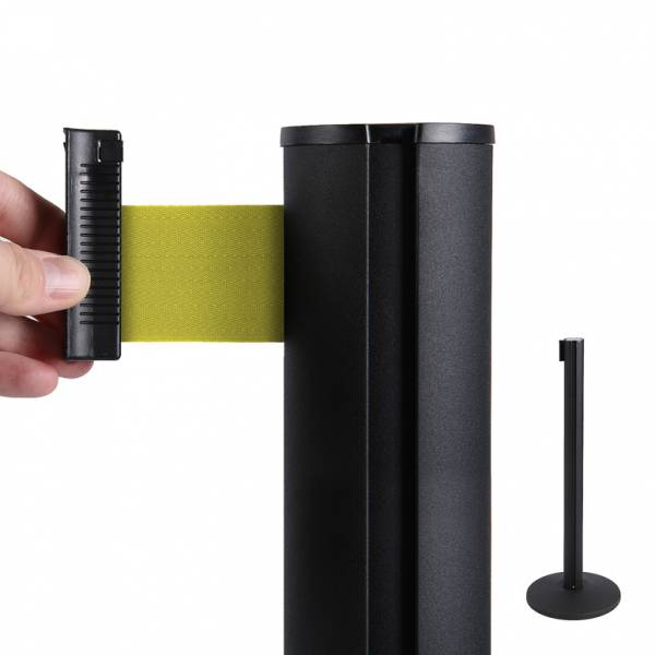 Poste separador negro con cinta extensible (cinta amarilla)