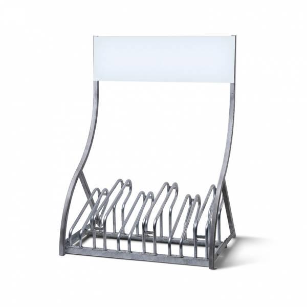 Aparcabicicletas con panel personalizable (6 plazas)
