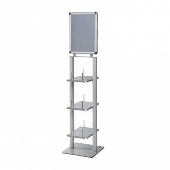 Expositor de folletos vertical con portapóster, color plata