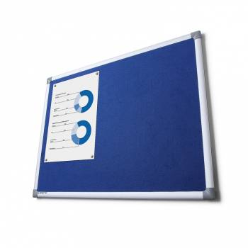 Tablon de anuncios tapizado azul 90x120
