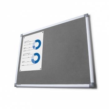 Tablon de anuncios tapizado gris 100x200