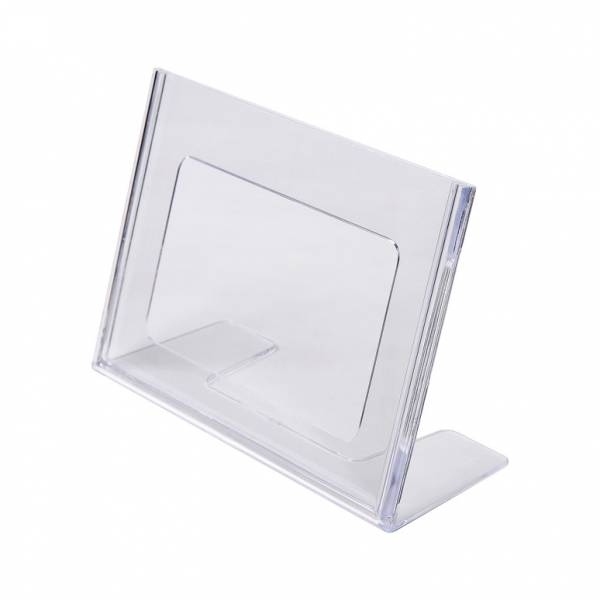 Soporte para folletos y menús horizontal de poliestireno (A6)