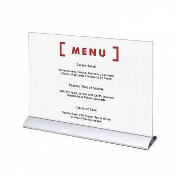 Soporte para folletos y menús horizontal, base de aluminio (A3)