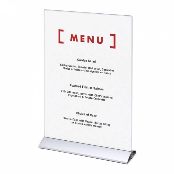 Soporte para folletos y menús vertical, base de aluminio (A3)