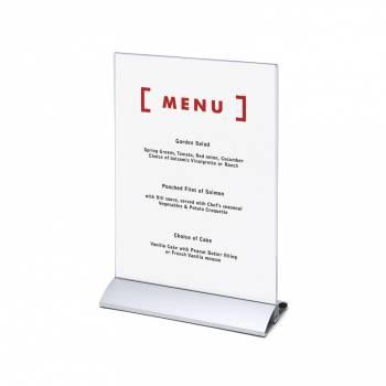 Soporte para folletos y menús vertical, base de aluminio (A4)
