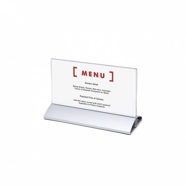 Soporte para folletos y menús horizontal, base de aluminio (1/3 de A4)