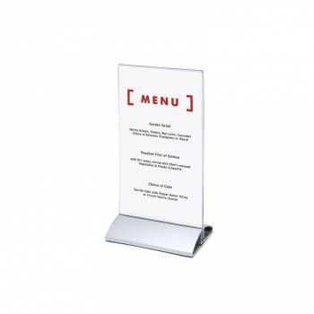 Soporte para folletos y menús vertical, base de aluminio (1/3 de A4)