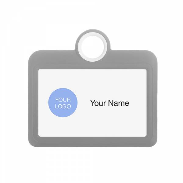 Porta identificación horizontal 85x54 gris