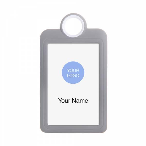 Porta identificación vertical 85x54 gris