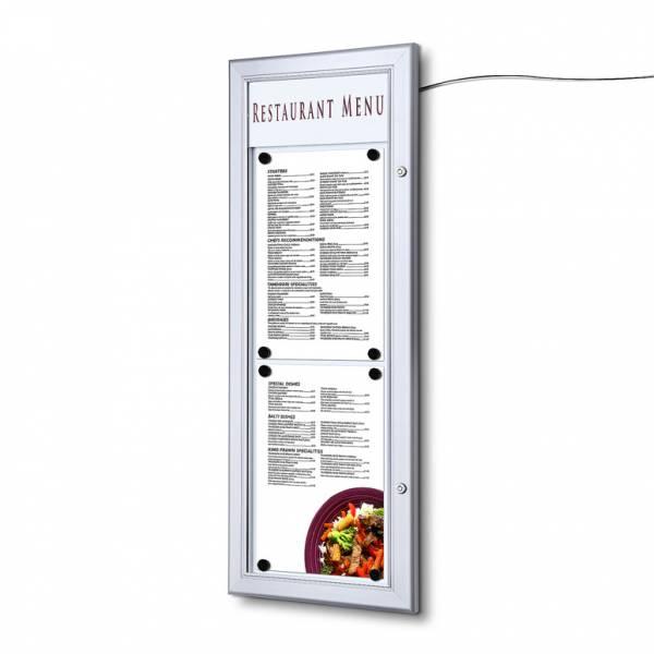 Vitrina porta menú exterior LED (2XA4 - vertical)