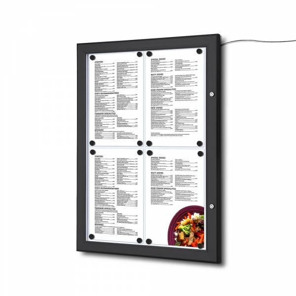 Porta menú Exterior cubierto negro 4XA4 LED