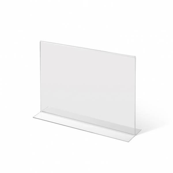 Soporte para folletos y menús horizontal, doble cara (A4) forma T