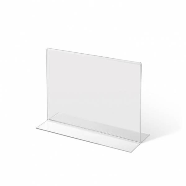 Soporte para folletos y menús horizontal, doble cara (A5) forma T