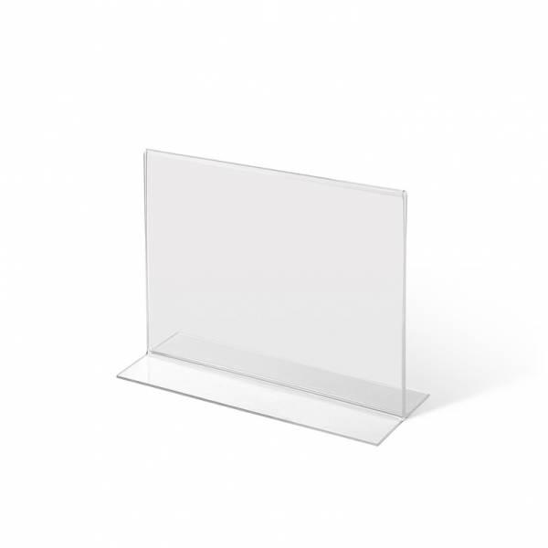 Soporte para folletos y menús horizontal, doble cara (A6) forma T