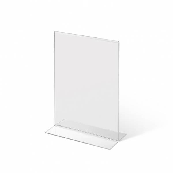 Soporte para folletos y menús vertical, doble cara (A6) forma T