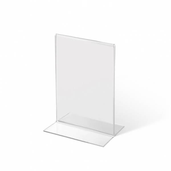 Soporte para folletos y menús vertical, doble cara (A7) forma T