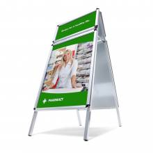 Caballete publicitario A0 con panel superior (redondeado - 32 mm)